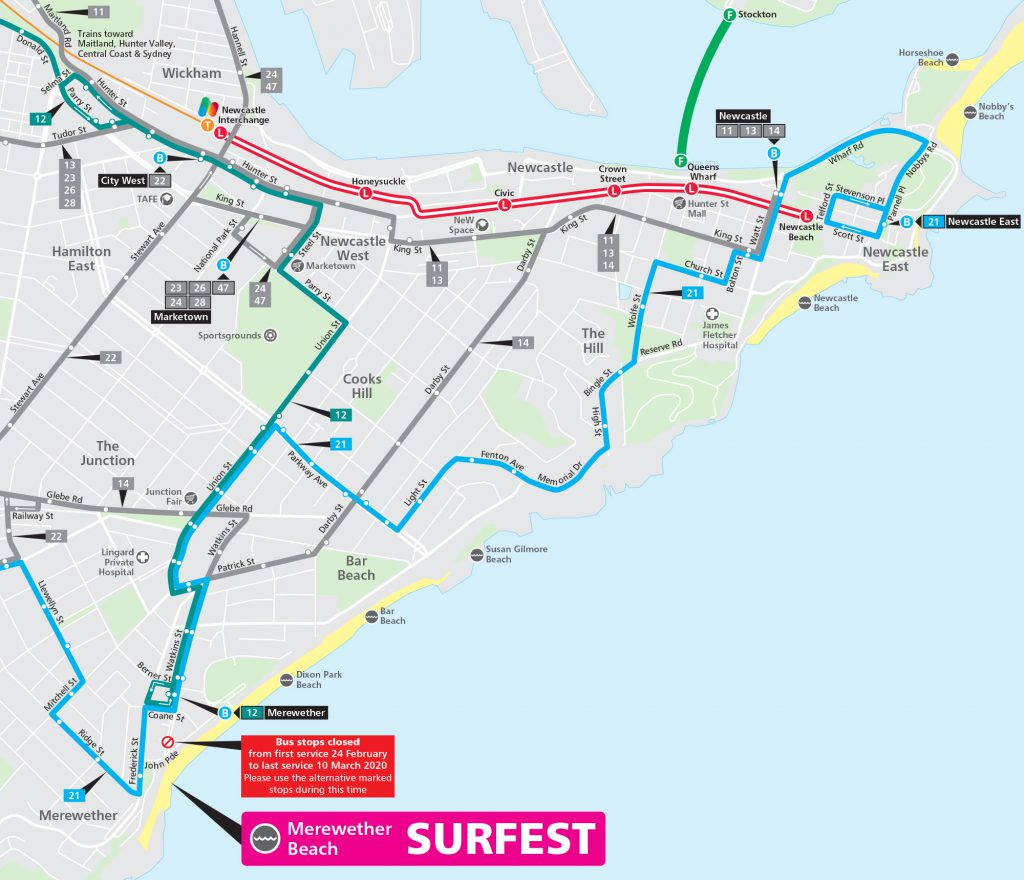 Map identifying which routes are available to transport customer to Surfest event