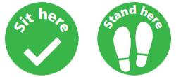 Graphics depicting No dot no spot stickers