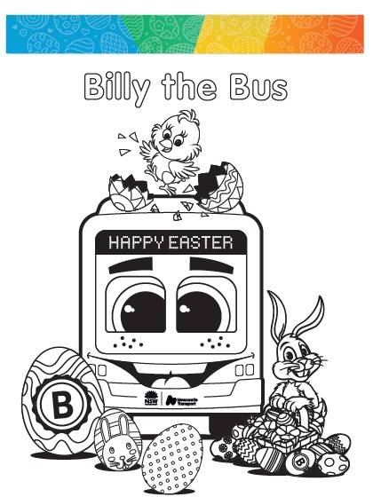 Billy the bus colouring in sheet