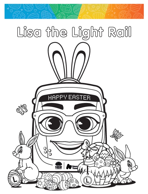 Lisa the light rail colouring in sheet