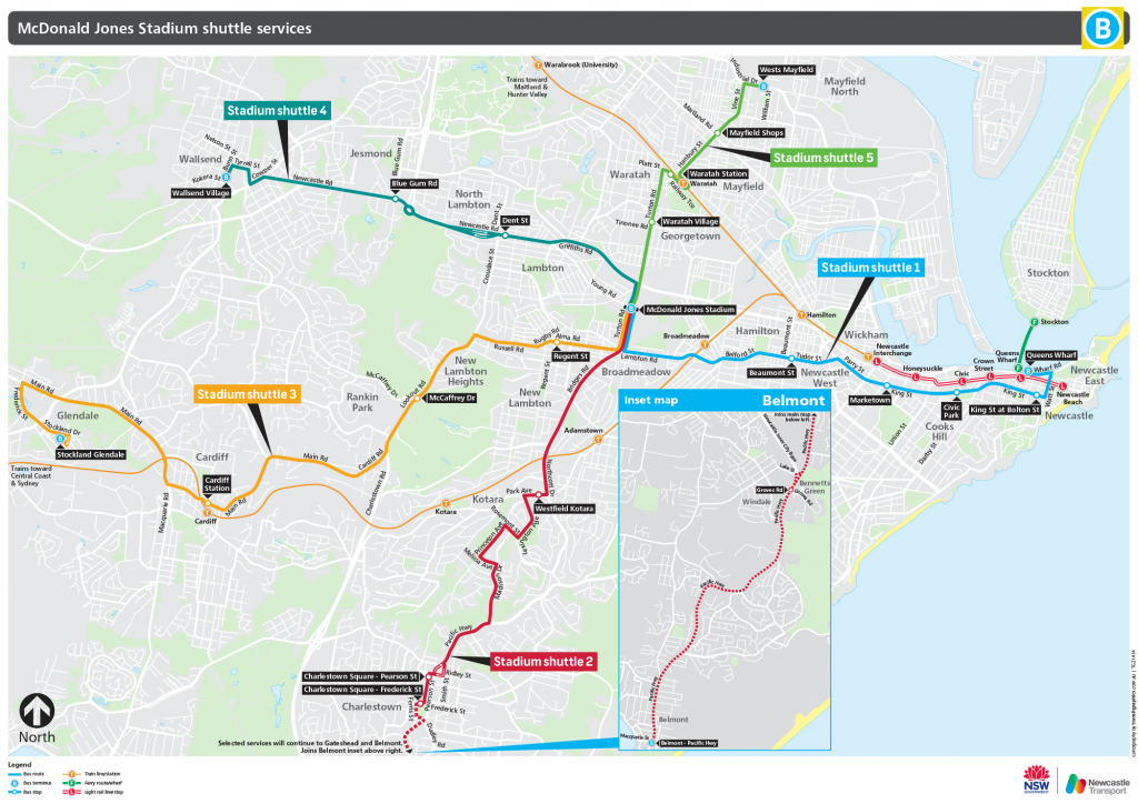 Map of stadium shuttle routes