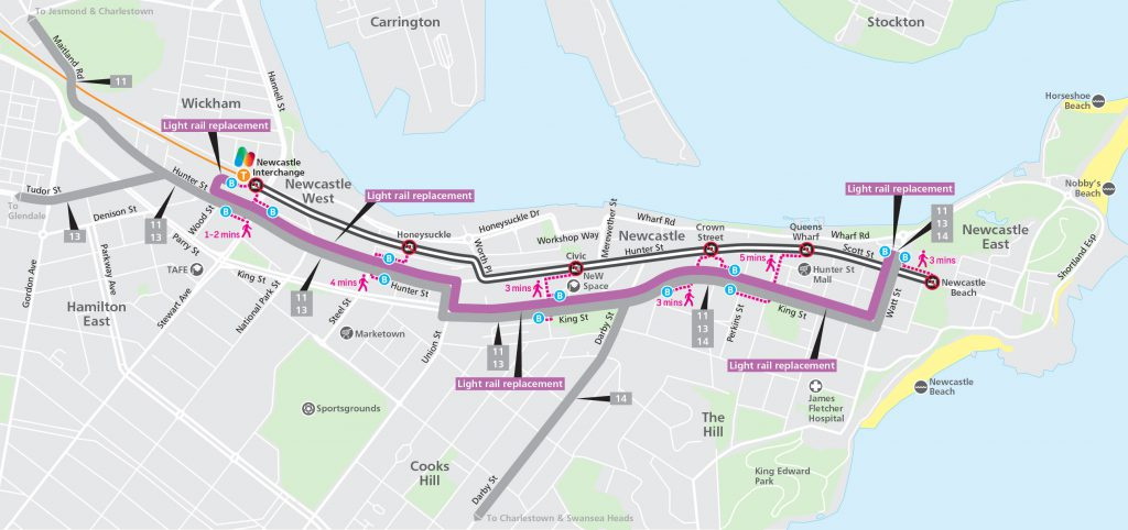 Light rail replacement route map